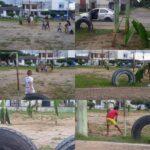 Habitantes del barrio Simón Bolívar sembraron un cultivo de plátano en la cancha, ¿Y ahora a donde jugaran los niños?