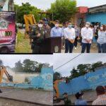 """Ministro de Defensa asistió al acto de demolición de una escuela en el sur de Montería"""" Era un nido de delincuencia y drogas"""""""